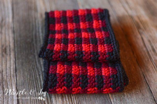 GRÁTIS Crochet Pattern: Crochet Plaid Scarf | Faça esta linda e aconchegante manta sc ...