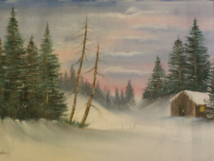Winter Cabin 22 x 16 oil painting by                  C Walters