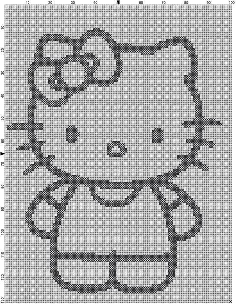 Filet Haken Patroon  Hello Kitty van MoWeHappy op Etsy, €2.75