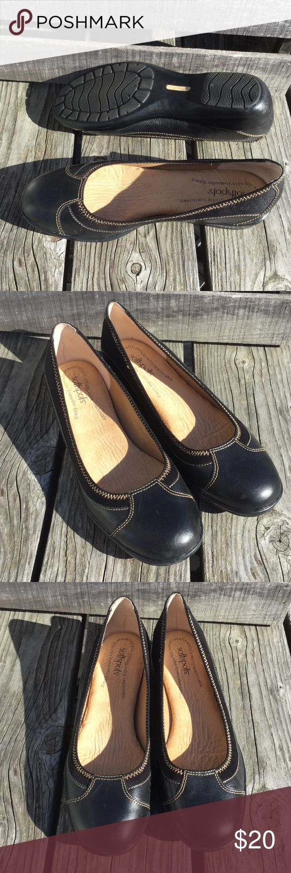 🆕List! Softspots Black Leather Flats! EUC! Stylish and comfortable! Thick insole. Contrast stitching. Low wedge ballerina style. Size 10. Great condition! Softspots Shoes Flats & Loafers