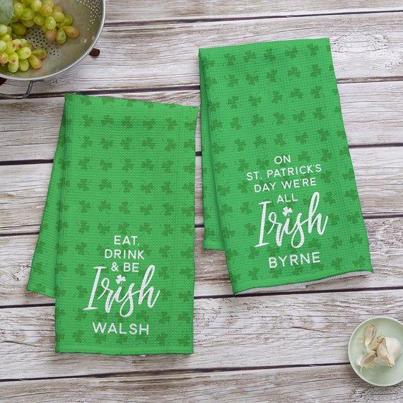 St Patrick S Day Personalized Waffle Weave Kitchen Towel Irish