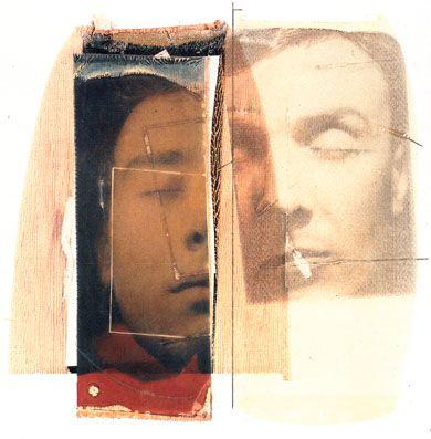 """""""Dormire nella maschera altrui"""", 1990 Polaroid Polacolor ottica e seta, trasferto su carta da disegno cm 50x40 (Polaroid dye diffusion trans..."""