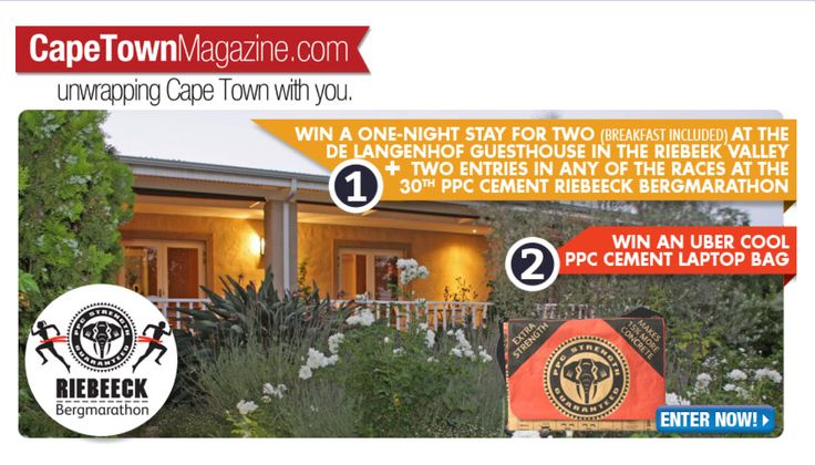 "Want to win a one-night stay for two or a 15"" PPC Cement laptop bag courtesy of the 30th PPC Cement Riebeeck Bergmarathon? Enter now: https://www.facebook.com/CapeTownMagazine?sk=app_211058802266771&app_data=52986"