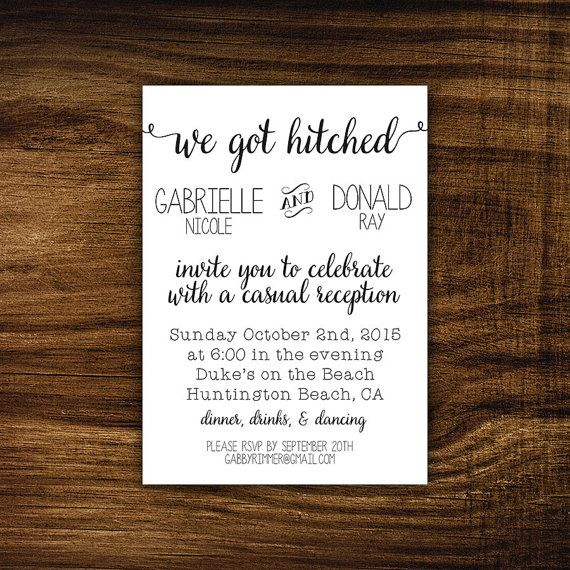 Funny Wedding Reception Invitations: Printable Elopement Reception Invitation, Black And White