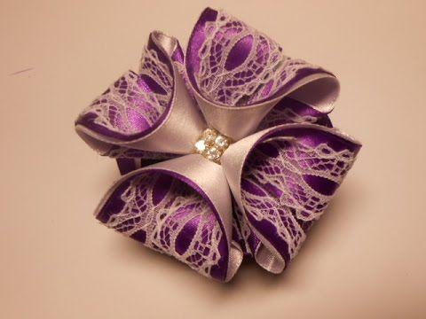 Бант из атласных лент 3D МК. DIY Beautiful bow of satin ribbons, My Crafts and