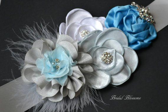 BRENDA Blue Gray & White Flower Maternity Sash | It's A Boy | Newborn Photo Prop | Baby Shower Belly Band | Bridal Sash Belt | Baby Shower