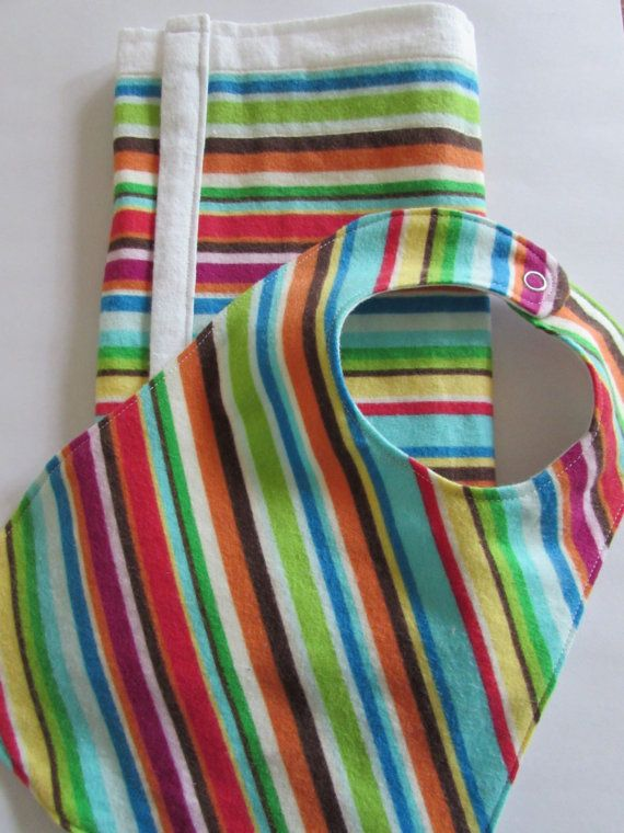 This sweet set includes a matching bib and burp cloth. What a lovely baby shower gift. The burp cloth is made from 100% cotton diaper flannel with