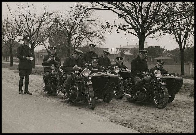 South Australian Police 1938 - South Australian Police motor bike patrols.