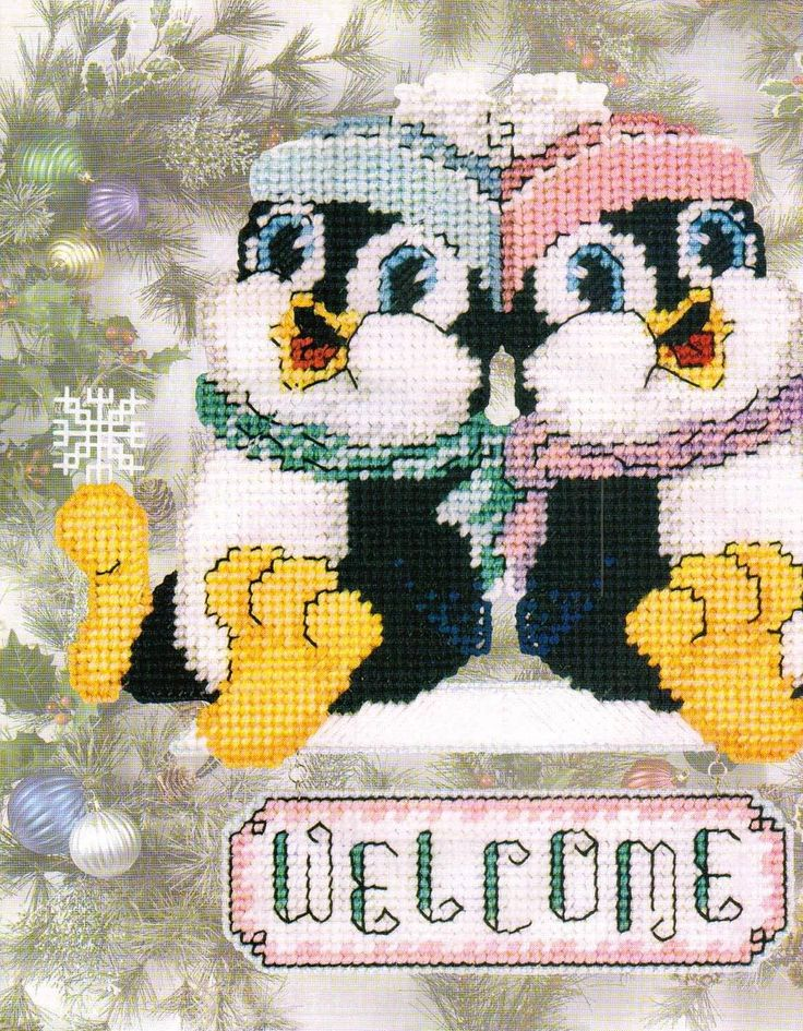 Winter Penguins Welcome Sign Plastic Canvas Pattern Only from A Book | eBay