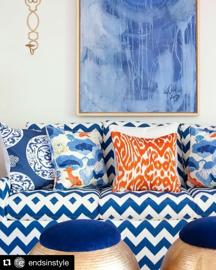 Sea Island interiors blue & orange fabrics  Parker Kennedy Living