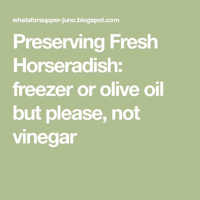 Preserving Fresh Horseradish: freezer or olive oil but please, not vinegar