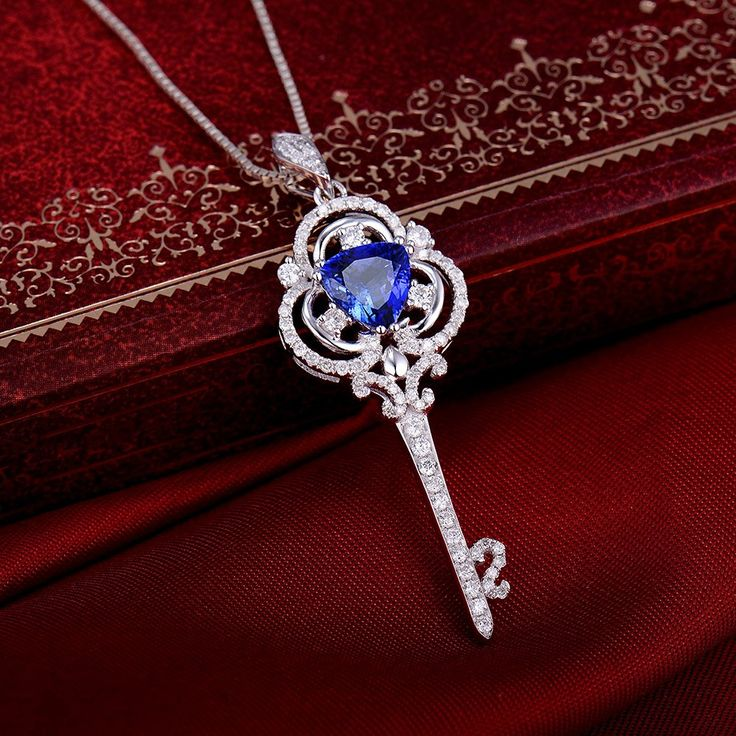 Special Gemstone Key Pendant Natural Diamonds Unique Key Shape Tanzanite Pendant 14K White Gold Trillion 7mm: Jewelry