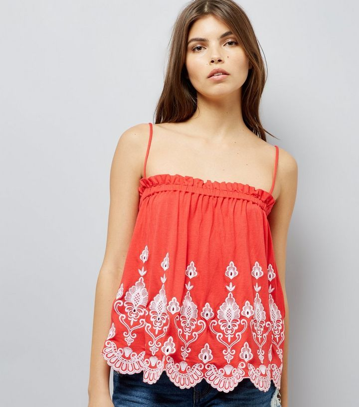L2017 http://www.newlook.com/row/womens/clothing/tops/red-contrast-embroidered-cami-top/p/530748760?comp=Browse