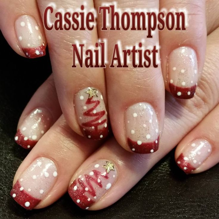 "Burgundy french abstract Christmas tree with snow ctnailartist.wordpress.com (@ctnailartist) on Instagram: ""#christmasnails #christmastree #snow #snowglobe @ibdbeauty #justgel #gelpolish in #brandywine &…"""