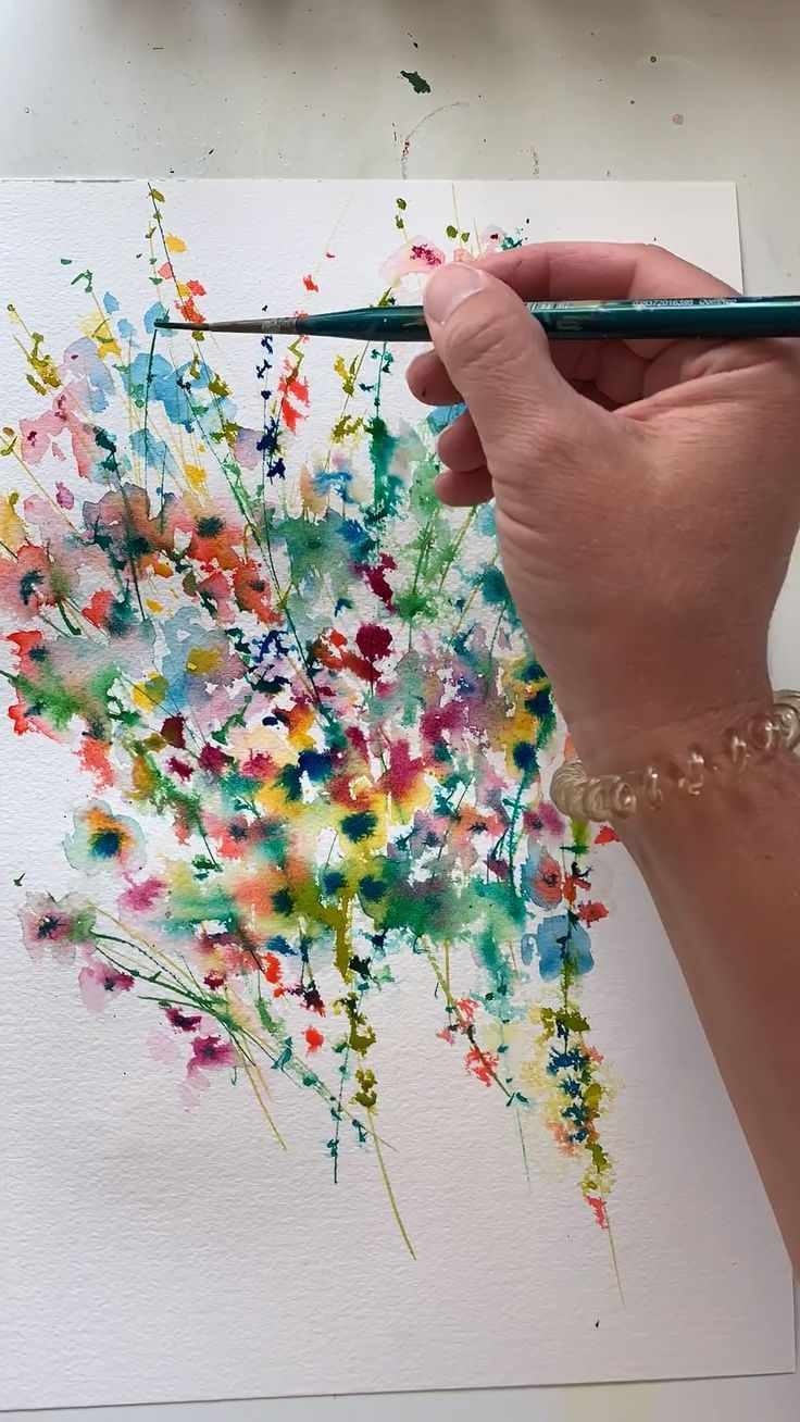 Abstract Watercolor Floral Painting By Lindsay Megahed