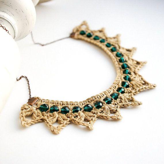 Neklace, Linen 100%, crochet linen necklace, glass beaded necklace, linen fiber jewelry, Eco friendly necklace, triangle crochet, triangle