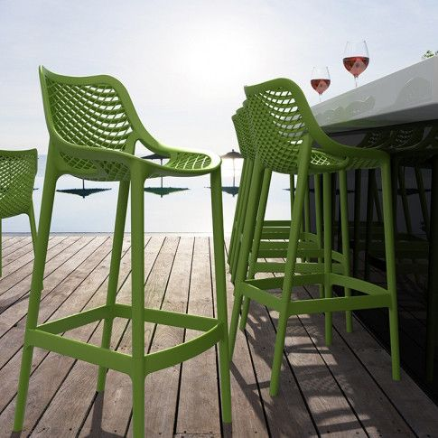 INJECTION MOULD OUTDOOR BAR STOOL - GREEN