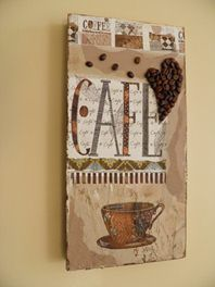 Coffee/Cafe collage on canvas