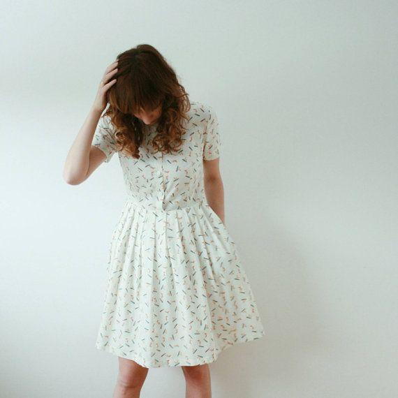 Surfers Print Cotton Dress White Summer Dress Short door OffOn