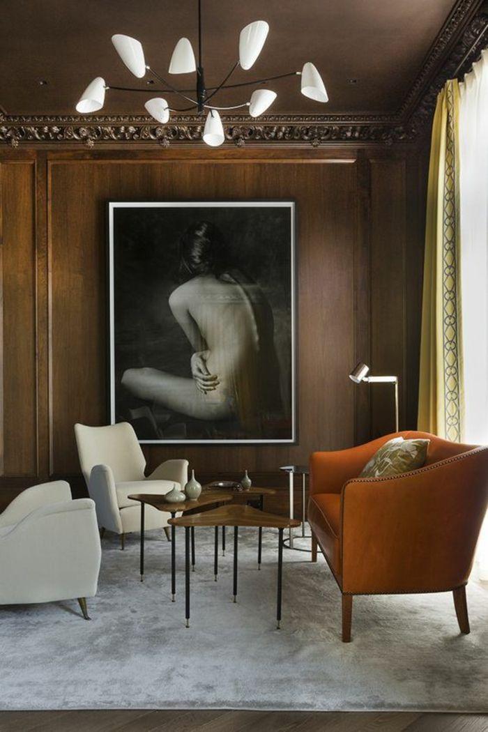 Meuble Salon Pas Cher, Deco Salon Avec Fauteuil En Orange, Luminaire En  Verre Blanc Opaque Et Métal Noir, Tapis Carré Blanc, Deux Fauteuils En Faux  Cuir ...
