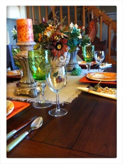 kathe with an e tuscan table