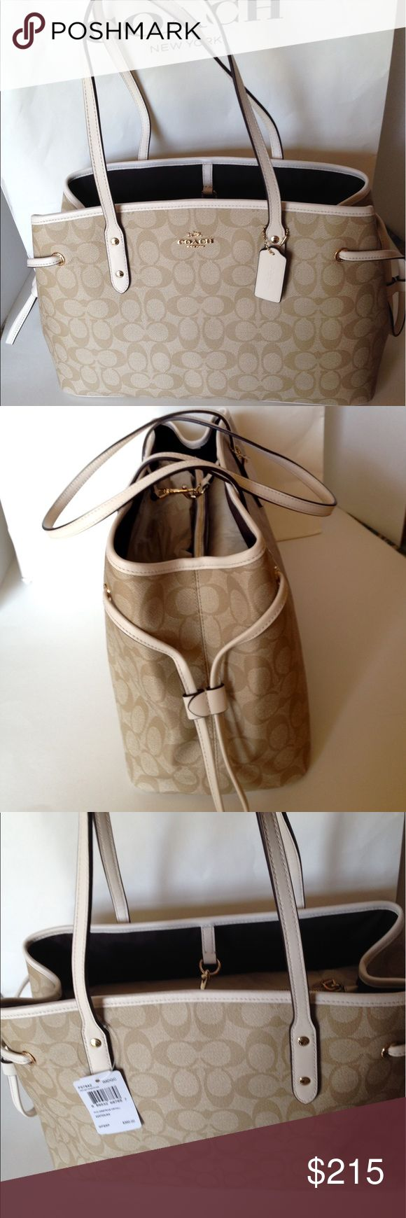 """NWT Coach Drawstring Carryall Bag Beautiful!! New with tags. Coach Signature PVC drawstring Carryall shoulder bag/Light khaki/chalk. Gold hardware trimmed in chalk leather. Handles with 9"""" drop. Two main compartments divided by zippered pocket. Lining chocolate twill with zippered pocket and two slip pockets. Dog leash closure. Great for Mother's Day or any day! F57843. No Trades Coach Bags Shoulder Bags"""
