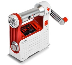 Eton ARCPT300W American Red Cross Axis Self-Powered Safety Hub [Car Safety Kit]  Is packed with features that will come in handy during an emergency. There's a NOAA weatherband radio for tracking bad weather conditions, a flashlight, a red blinker for alerting others to your plight, as well as an AM/FM radio for general news. You can use its built-in hand crank to power the device, charge its internal NiMH battery or pop in three AAA batteries.  Price: $62.75 on Amazon.com
