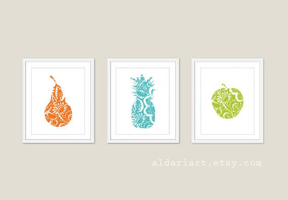 Fruit Art Prints Set of Three Kitchen Wall Art por AldariArt