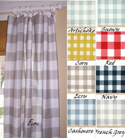 "Buffalo Check, 9 Colors,Ecru Curtains,Grey Check Curtains,Large Check Curtains, Black Check,Pair Drapery Panels,24"" Wide,52"" Wide,Valance"