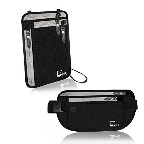 Cinturón para guardar dinero con protección RFID + Cartera para Cuello    Porta- pasaportes para baf3ae36b8c4