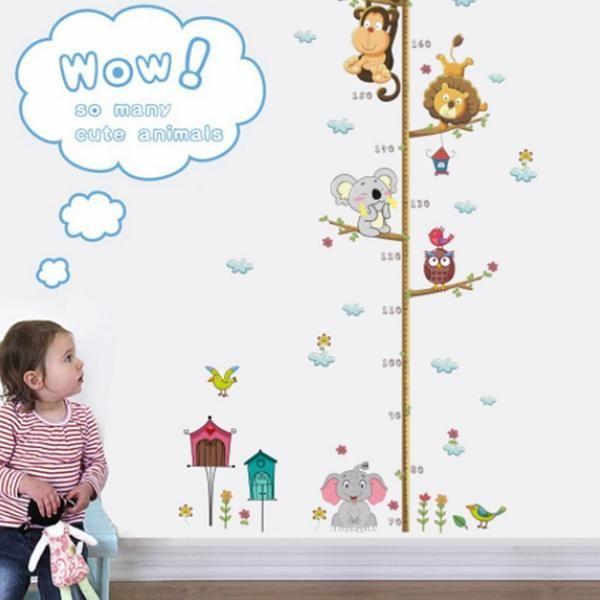 Animal Growth Height Wall Stickers Monkey Tree Jungle Nursery Kids Room Decal UK