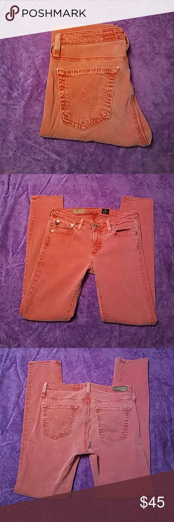 Red-Orange Adriano Goldschmied Jeans Stevie Ankle Adriano Goldschmied jeans in Red-Orange Hardly worn, soft and stretchy.  Tag says 26R Stevie Ankle is a short leg. Adriano Goldschmied Jeans Ankle & Cropped
