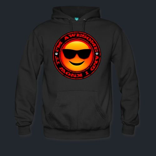 Motivation Men's Premium Hoodie -  'I'm Awesome and I Know It'. Cozy, comfortable, and Heavyweight premium hoodie. 80% cotton 20% polyester. Colors: Black, Navy, Charcoal.