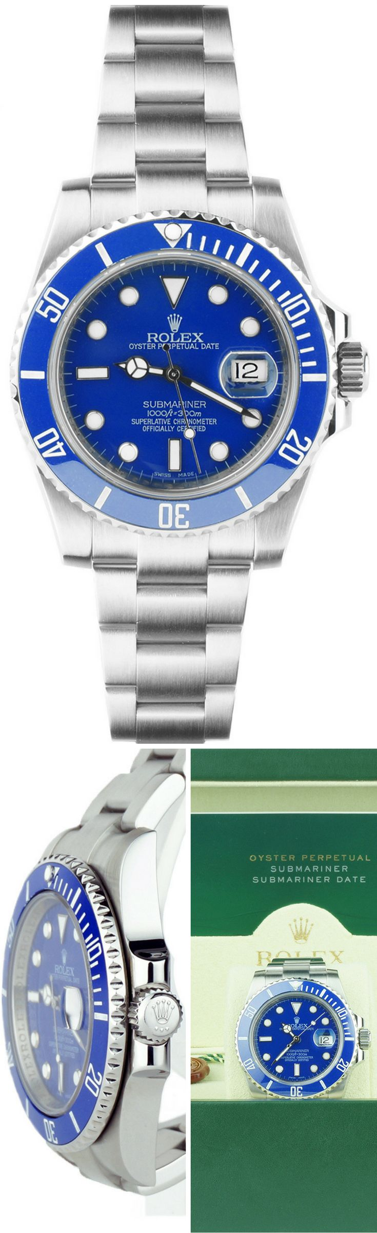 Perfection! Rolex Submariner in Custom Blue Ceramic Bezel, Blue Dial with Stainless Steel for the True Diver Look.
