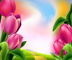 Wiosna kwiat piękne tła wektory 05