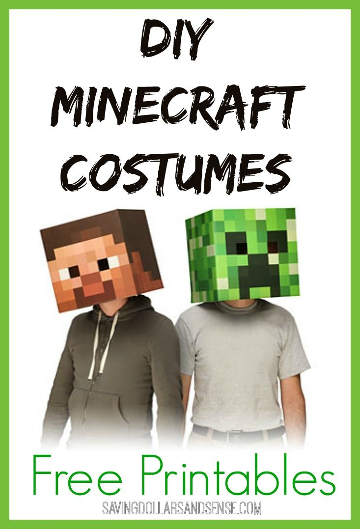 Use the FREE Printables to create your own Minecraft costumes