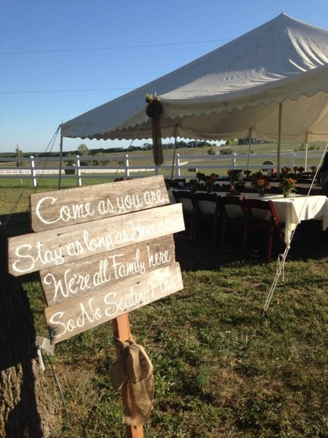 Seating Sign for a casual outdoor wedding reception ~Stone Barn Farms~ Wedding/Event Venue