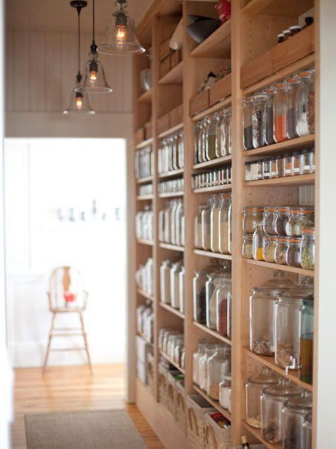 Beautifully Organized: Pantry Areas. Shop in bulk, minimise packaging and plastic, use recyclable jars - makes your pantry look better and also saves you money - taking the empty clean jar to a bulk foods place and fill it directly into the jar... no waste, no plastic.