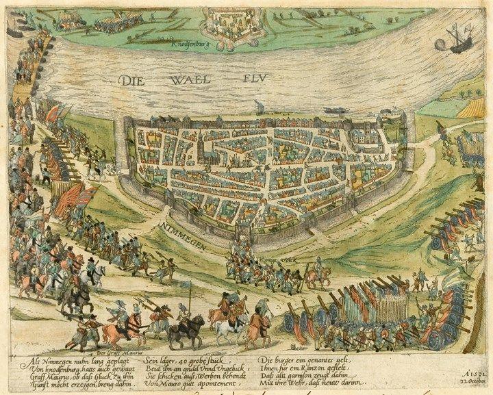 Lange tijd was Nijmegen onderdeel van Spanje. Spanje was katholiek en steeds meer Nederlanders waren protestants. Dit was een van de redenen voor een opstand in de Nederlanden, wat resulteerde in de Tachtigjarige Oorlog en in de stichting van de Republiek. Op deze kaart is te zien hoe het Spaanse garnizoen op 22 oktober 1591 de stad verlaat. Het is een kaart van het Beleg van Nijmegen, ook wel de Reductie van Nijmegen genoemd, tijdens de Tachtigjarige Oorlog.
