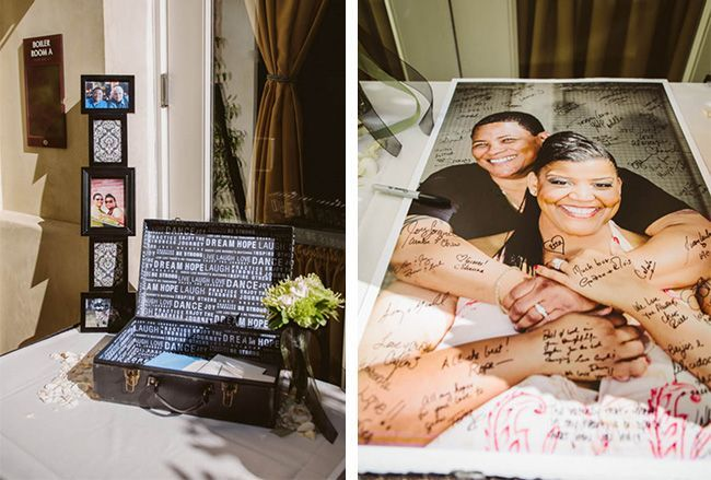 It's important to have symbols of love that are big and bold throughout your home. This couple decided to get one of their engagement photos scaled up to a standard poster size, so that their guests could sign in at their wedding. Your engagement photo will inevitably be a daily reminder of all the wonderful reasons you chose to spend your lives together.