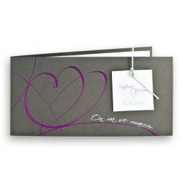 Faire-part mariage créatif Régalb : Coeur fuchsia/gris irisé