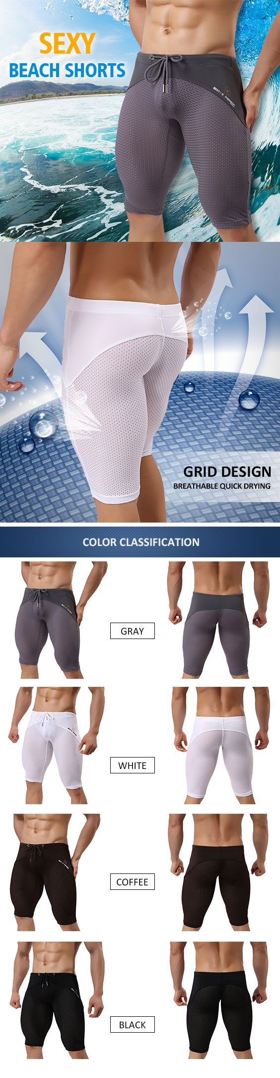 Sexy Sport Beach Swimming Surf Hot Spring Breathable Mesh Knee Length Trunks for Men