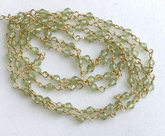 Peridot Micro Faceted Rondelle Beads Connector by gemsforjewels