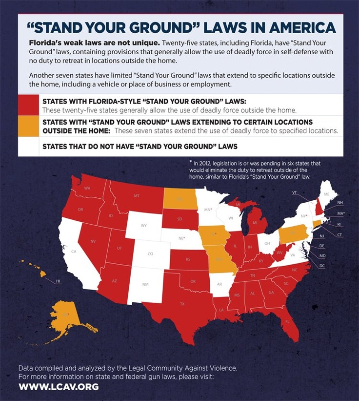 Official Count Of Stand Your Ground Is 25 States Lcav Is Responsible For Getting This Right Please Do Share This Map