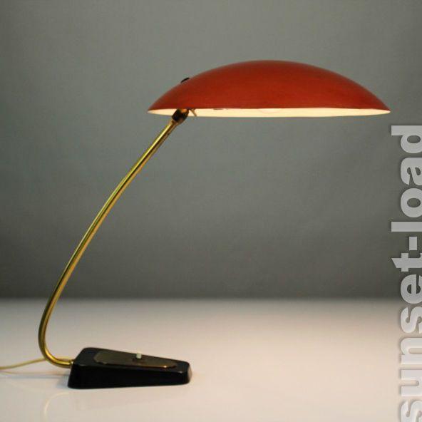 alte Schreib Tisch Lampe Italien Lese Leuchte Schirm Rot & Weit 50er Jahre