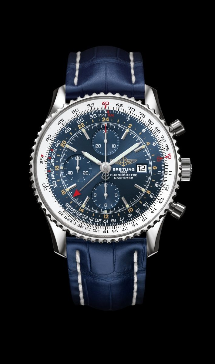 Navitimer World Blue on Blue Croc - Breitling - Instruments for Professionals Old Northeast Jewelers is an authorized dealer for Breitling Timepieces. Please Call 813-875-3935 www.oldnortheastjewelers.com