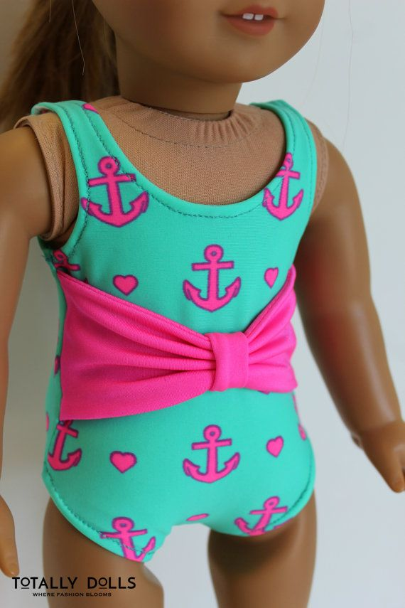 """18-inch American Girl Doll Clothes, Bathing Suit Swimwear Swimsuit, """"Anchors Away"""" Bathing Suit to fit 18-inch Girl Dolls by Totally Dolls"""