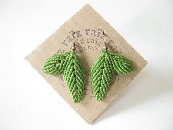 Sale Leaf Earrings Textile Micro Macrame Leaves Jewelry . by raiz