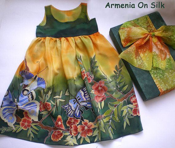 Hand painted silk dress Red flowers and a blue by ArmeniaOnSilk, $140.00