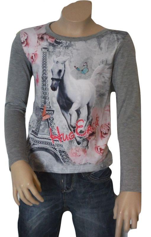 Longsleeve meisjes shirt - Paard - grijs